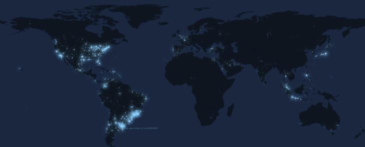 Real time tweet map